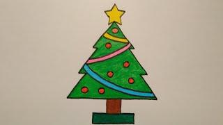 สอนวาดรูปต้นคริสต์มาสแบบง่ายๆ|Drawing a Christmas Tree easy for beginer