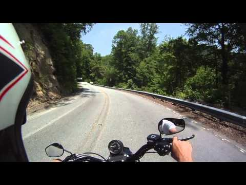 Riding H-D Sportster on US 74-A to Bat Cave, Chimney Rock, Lake Lure, NC
