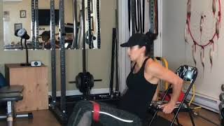 Chair tricep dips with abductions