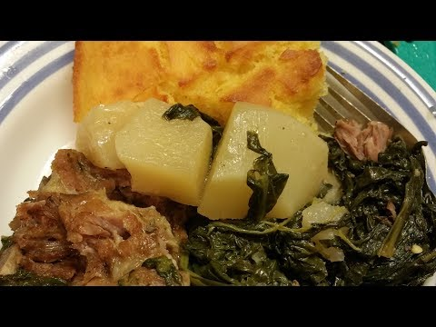 How To Cook Turnips/Mustard Greens with Pork Neck Bones