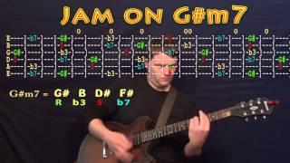 Guitar Jam Lesson - G# Minor - G#m7 - G# B D# F# -  JAMTRACK - M.M.=60