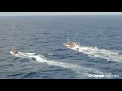 Royal Navy capture Somali pirate boat in the Indian Ocean