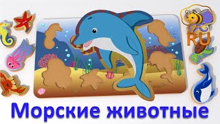 Морские животные для малышей. Игрушки для малыша: пазл-сортировщик с обитателями океана