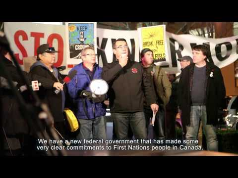 Bob Chamberlin speaks at November 29 protest against Kinder Morgan decision