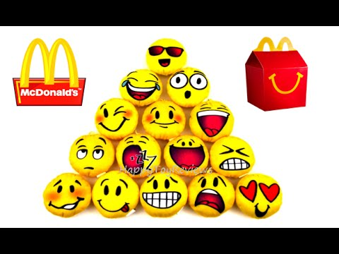 2016 McDONALD'S EMOJI MOVIE PLUSH HAPPY MEAL TOYS SMILEY SMILES SET 16  SMILIES KIDS COLLECTION USA