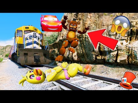 Thumbnail: CAN FREDDY + CHICA & MCQUEEN STOP THE EVIL TRAIN? (GTA 5 Mods For Kids FNAF RedHatter)