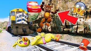 CAN FREDDY + CHICA & MCQUEEN STOP THE EVIL TRAIN? (GTA 5 Mods For Kids FNAF RedHatter)