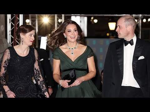 Duchess of Cambridge wears green with black sash in nod to Time's Up movement at Bafta Awards