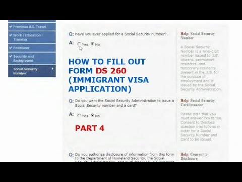 HOW TO FILL OUT FORM DS 260 (IMMIGRANT VISA APPLICATION) PART 4