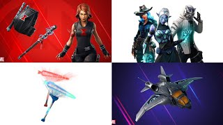 *ALL* LEAKED FORTNITE EMOTES AND SKINS (Patch 8.50) Black Widow, Avengers Quinjet Glider, and More!