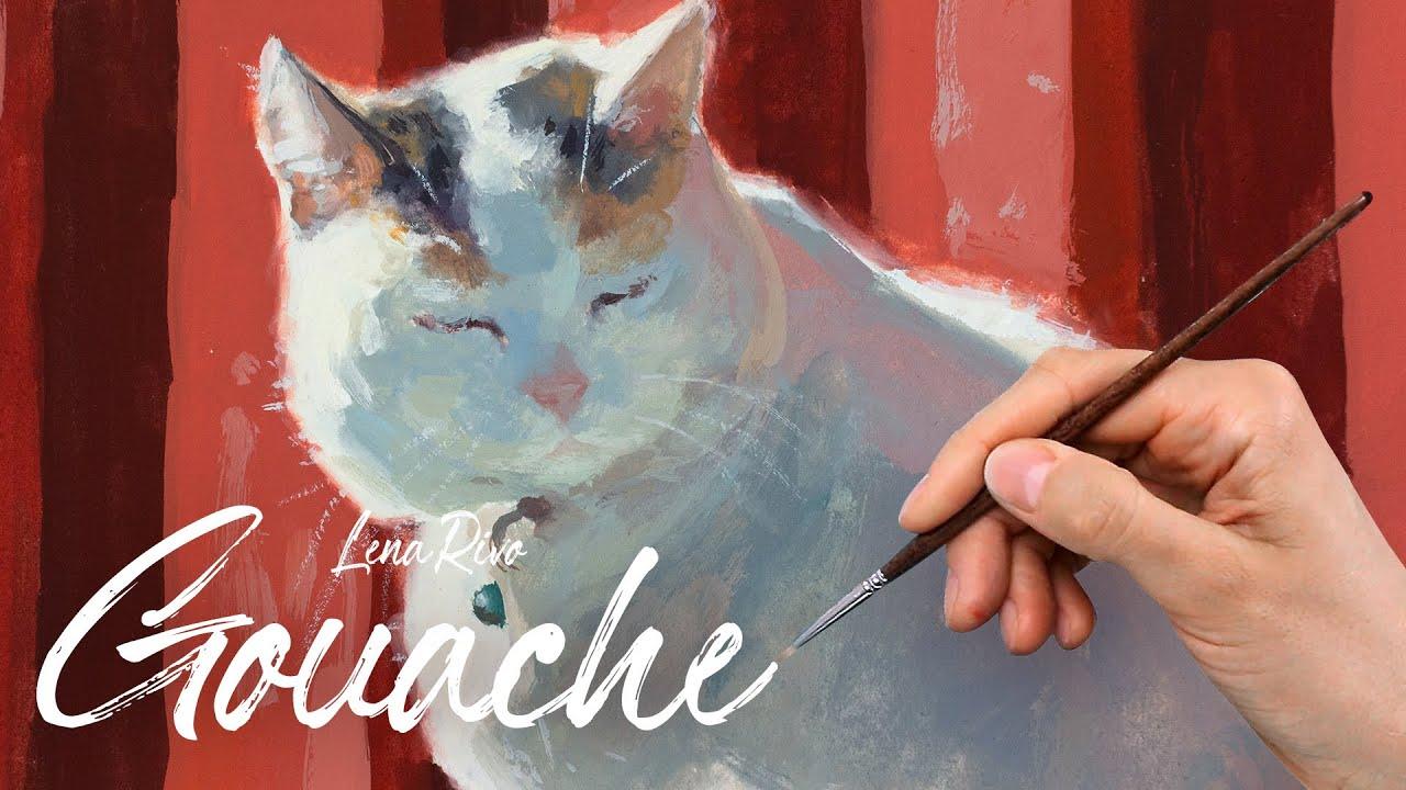 Sketchbook Gouache Painting - Sleepy Cat