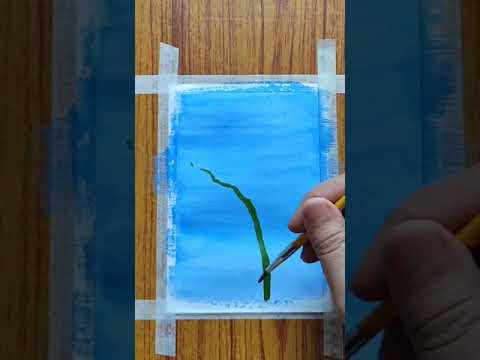 18 Easy painting with watercolor / scenery painting/#shorts