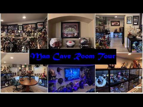 Hundreds Of Thousands Of $$ In High End Collectibles And Memorabilia. Man Cave Statue Room Tour - 4K