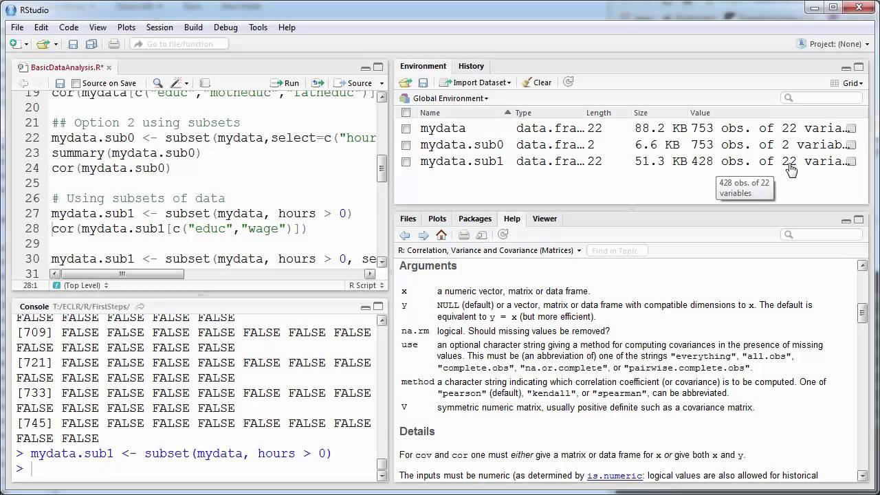 Basic Data Analysis in RStudio