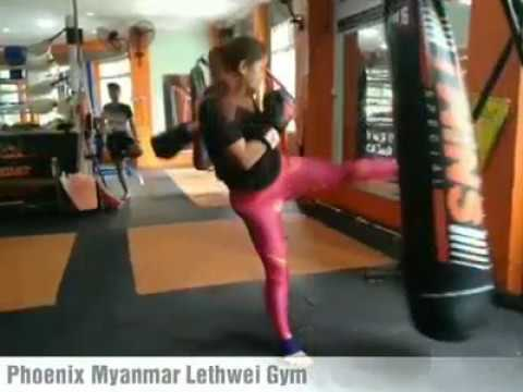 Smile, Myanmar Model and Actress Lethwei Gym at Phoenix Myanmar Boxing Club