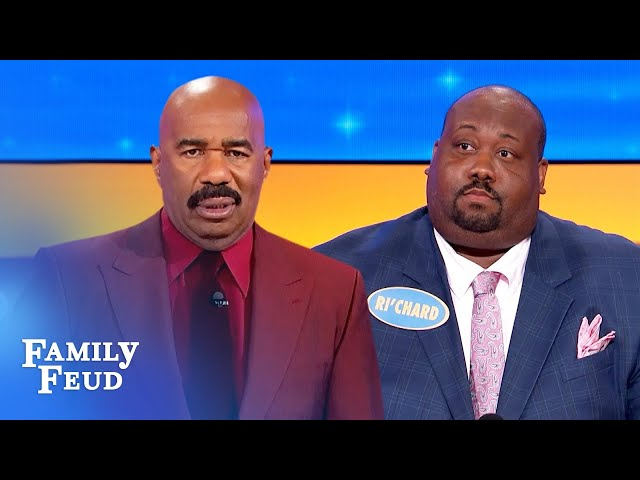Ri'chard wants to plant a big wet kiss on Steve Harvey's what? | Family Feud