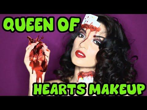 bloody queen of hearts  halloween makeup tutorial easy