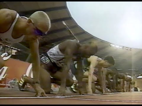 Mark Crear vs. Allen Johnson - Men's 110m Hurdles - 1997 Van Damme Meet
