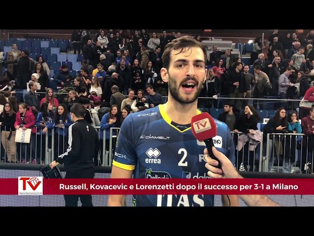 Russell, Kovacevic e Lorenzetti dopo il 3-1 a Milano