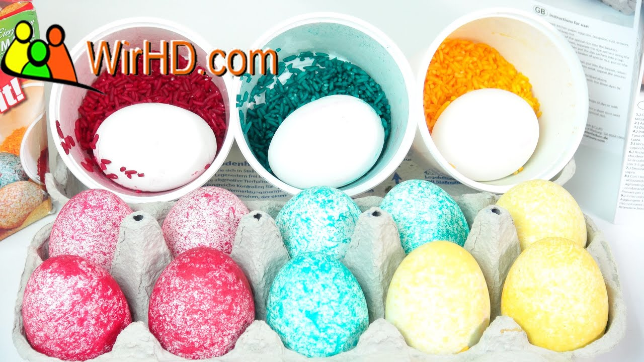 Easter Eggs Decorating and Coloring with Dye Rice Shake It from