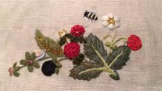 Ягоды и цветы. Первая часть. Вышиваем цветок и ягоду клубники.