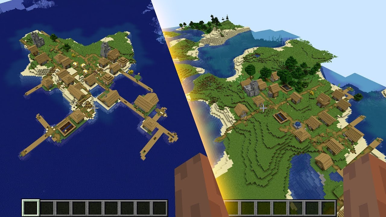Minecraft 11.111 Seed 11: Two huge #island villages in one seed!