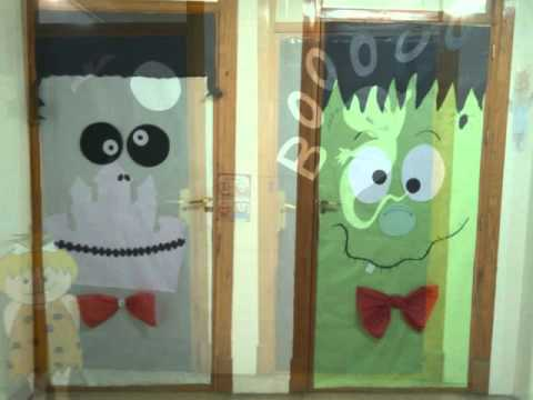 decoraci n puertas colegio halloween 2015 youtube