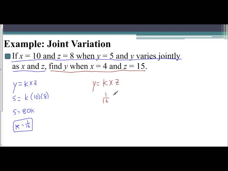 Lesson 95 Joint Variation Examples Youtube