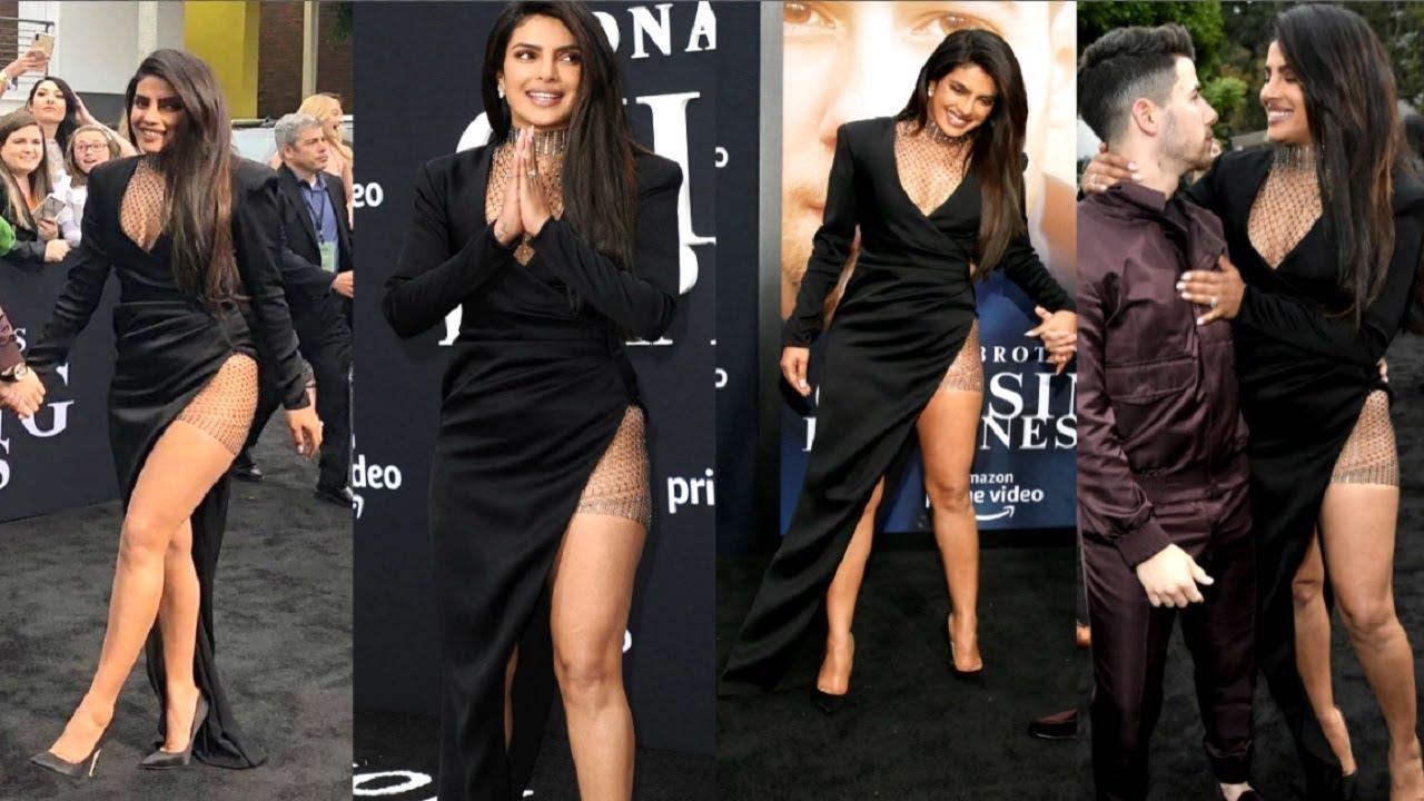 Priyanka Chopra In Thigh High Slit Dress With Husband Nick -3863