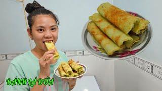 Làm bánh dừa lá dứa chiên cực ngon đơn giản ăn không ngán