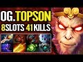 Fun fact: lv1 buy BOOTS = 41 kills solo MID - Topson monkey king Ti8 Winner tactic Dota 2