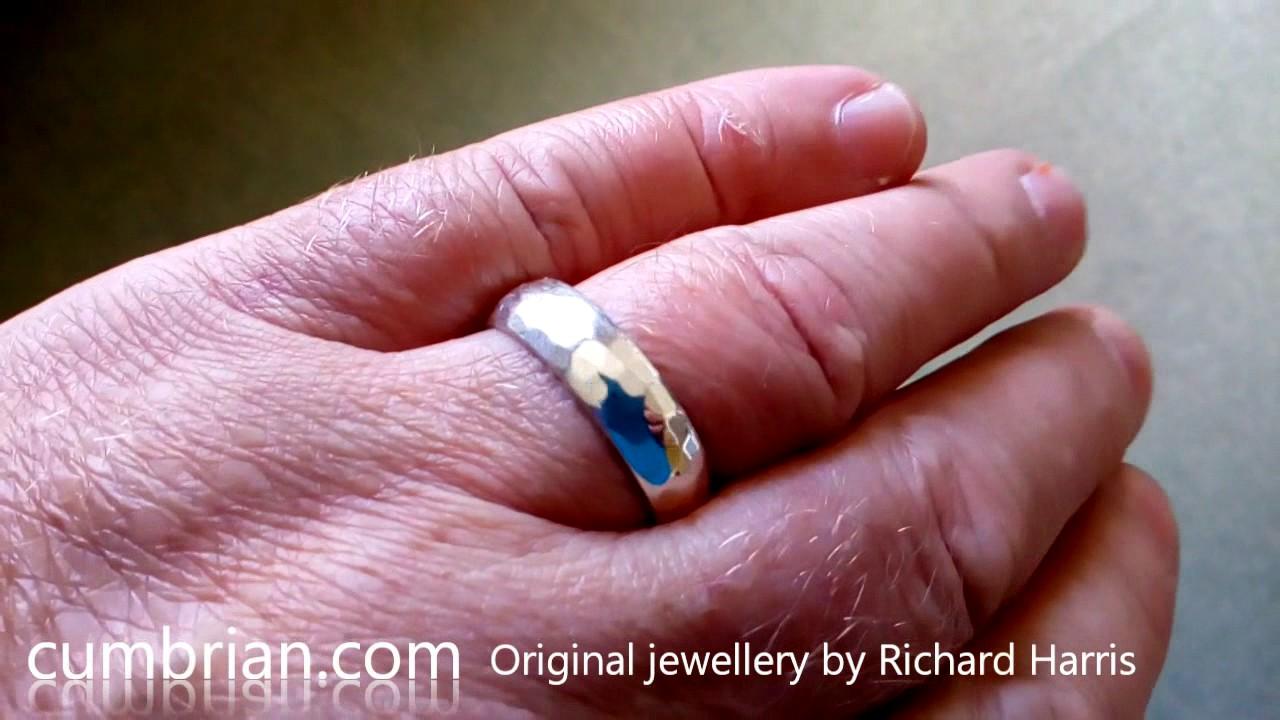 Wedding Ring, white gold Pebble Hammered handmade band. - YouTube