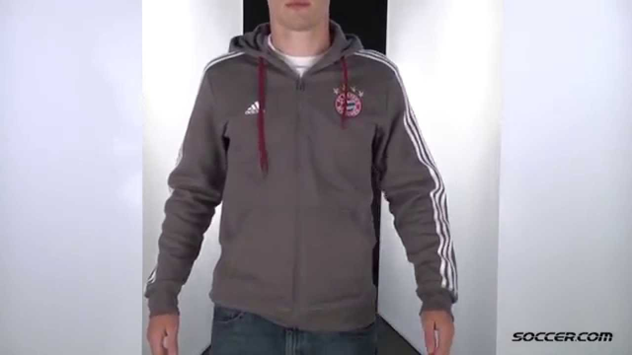sports shoes 7ad90 88e69 adidas Bayern Munich 3 Stripe Full Zip Hoody 15 16 - YouTube