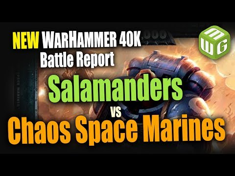 NEW Space Marines (Salamanders) vs Black Legion Warhammer 40k 8th Edition Battle Report