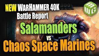 NEW Space Marines (Salamanders) vs Black Legion Warhammer 40k 8th Edition Battle Report