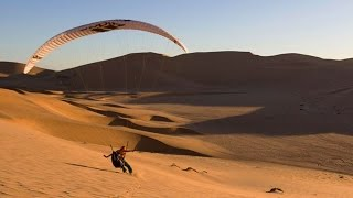 Paragliding Over a Sea of Sand Dunes in Namibia