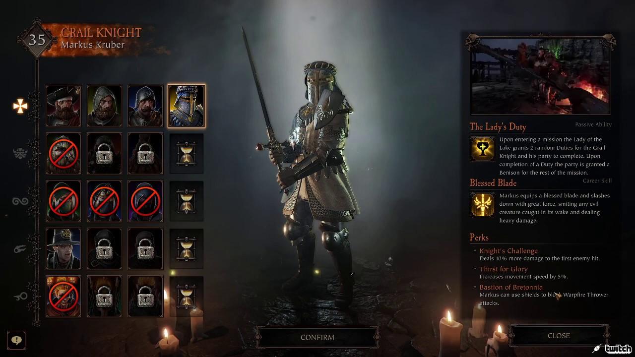 Kruber Grail Knight Vermintide 2 Gameplay - YouTube