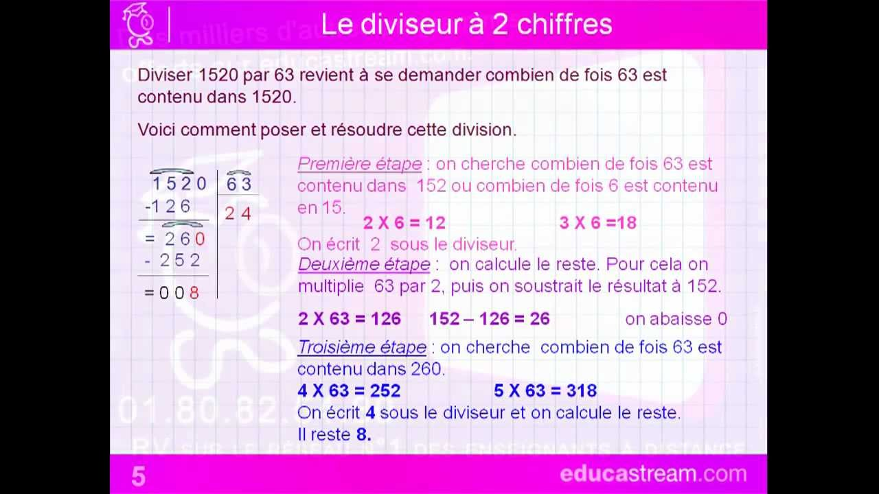 Division Euclidienne Cours Maths Cm1 Youtube