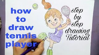 how to draw tennis player | drawing for kids