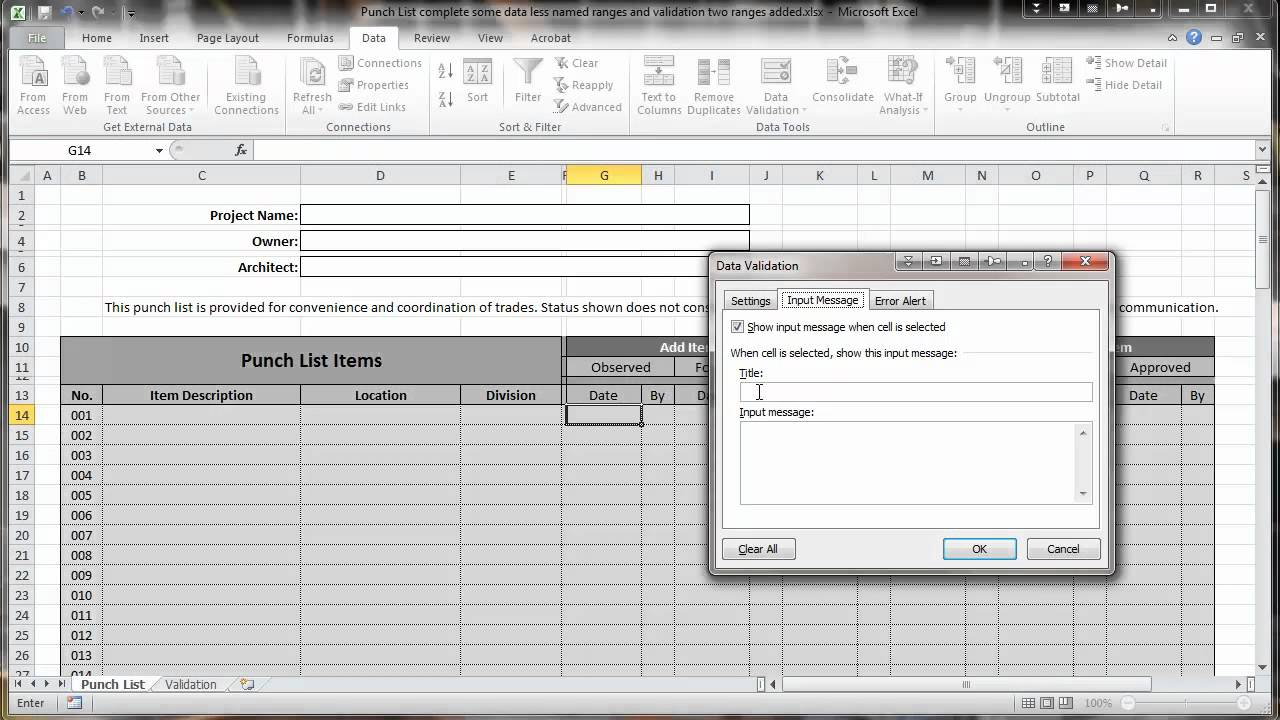 Excel 2010 Construction Punch List Part Iv Data Validation Youtube