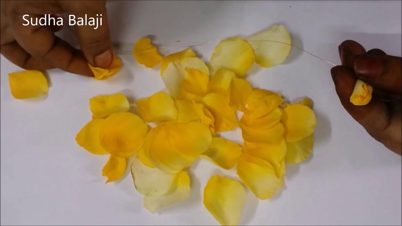 Simple Rose Petal Bridal Hair Decoration With Yellow Roses Sudha