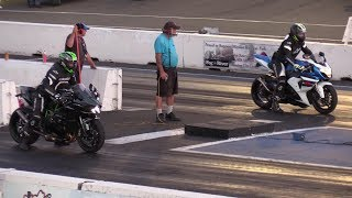 H2 Kawasaki vs GSXR 1000 Suzuki - drag racing of superbikes