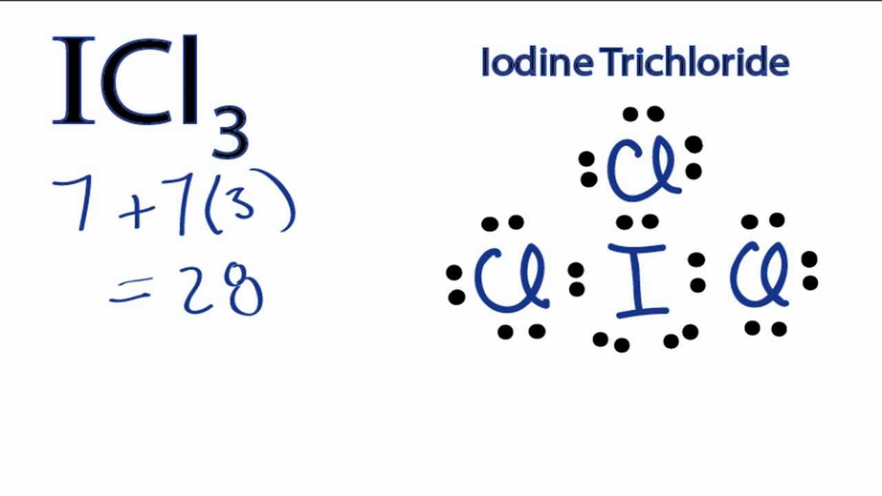 hight resolution of a step by step explanation of how to draw the icl3 lewis structure youtube