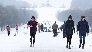 video: UK weather: Britain revels in snow day but police branded 'killjoys' for sending sledgers home