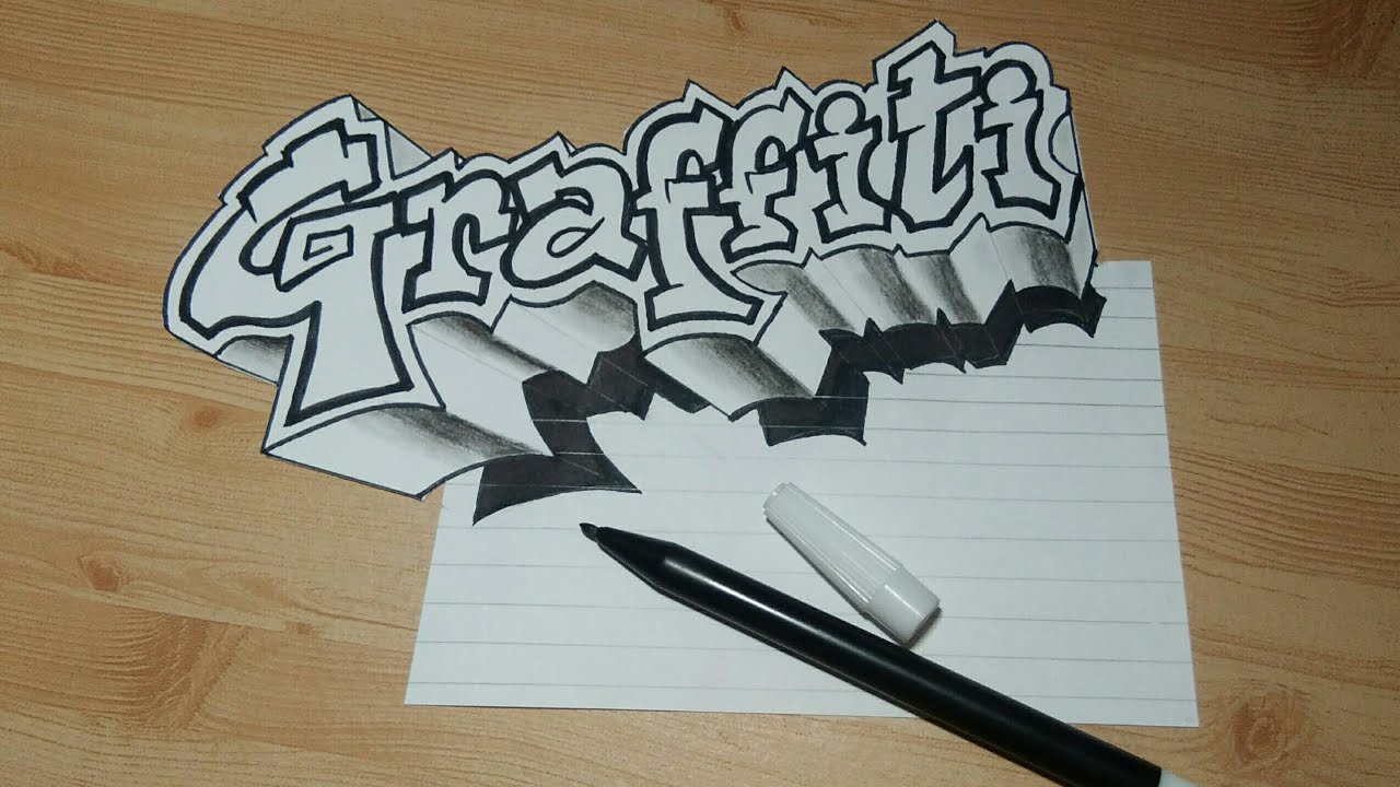 Amazing Skills Tutorial Membuat Gambar Tulisan 3d Graffiti Di Kertas Graffiti 3d Art Youtube