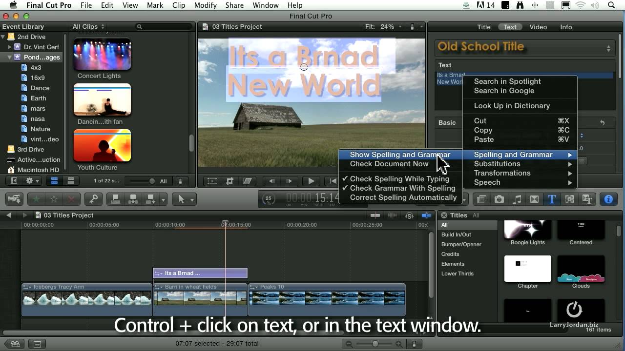 how to add text in fcpx