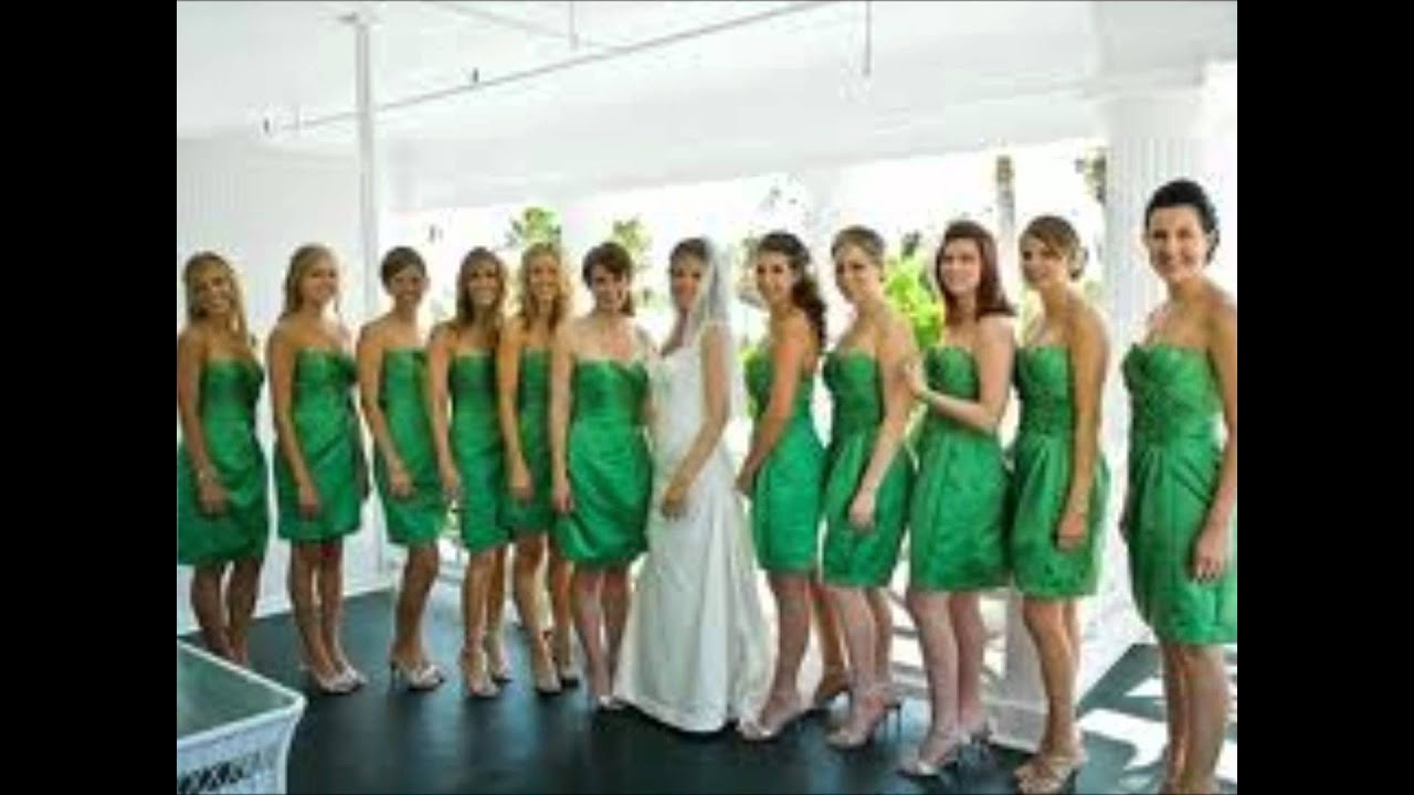 Pictures of green bridesmaid dresses