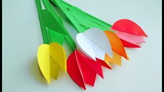 Тюльпаны. Как сделать цветы из бумаги своими руками. Бумажный цветок. Поделки. Декор комнаты.