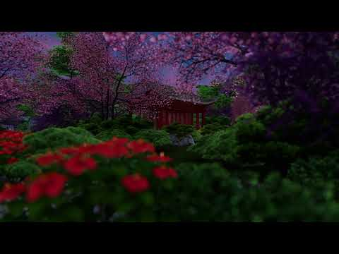 ( CGI 4k Stock Footage ) Japansese asian buddhist architecture temple zen garden 9