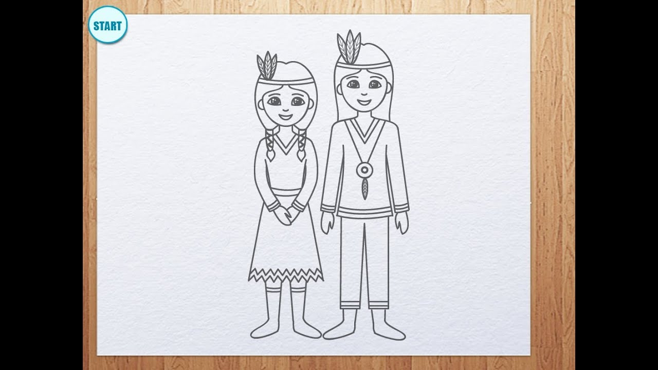How To Draw Indians For Thanksgiving Day